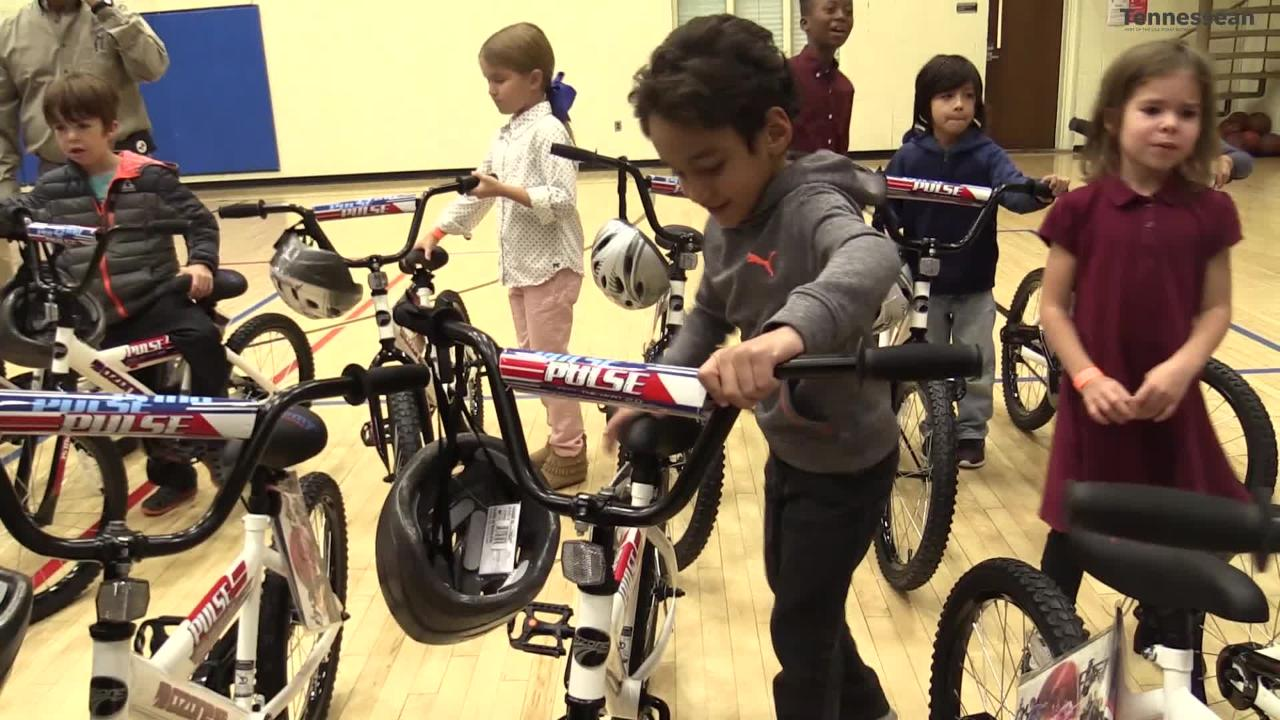 Boston Red Sox player Mookie Betts surprised a group of children with new bikes for Christmas at the Donelson-Hermitage YMCA.
