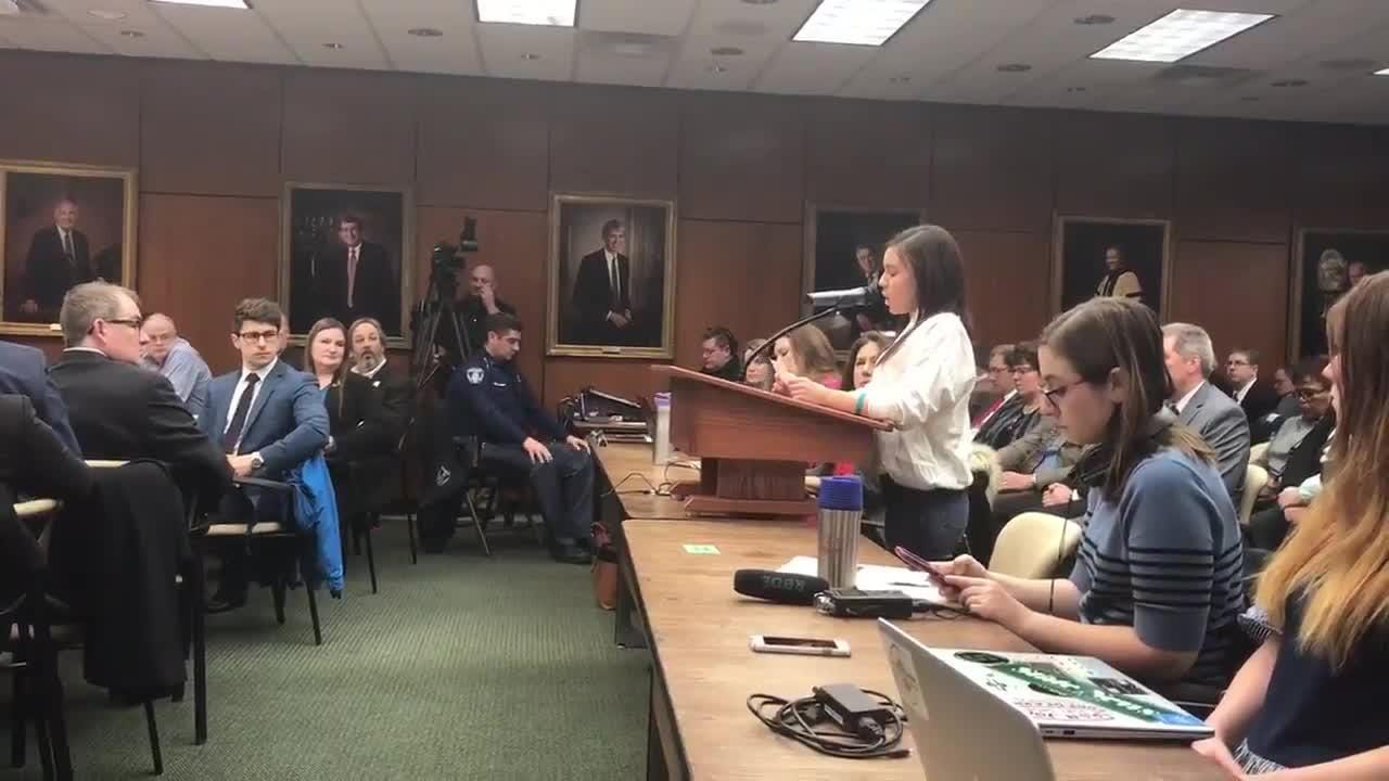 Kaylee Lorincz speaks before the MSU Board of Trustees on Dec. 14 to ask for the Healing Assistance Fund to be reinstated.