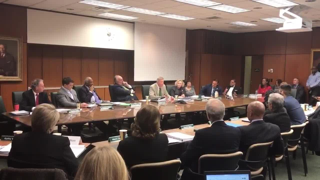 Brian Breslin gives farewell statement during the MSU Board of Trustees meeting Dec. 14.
