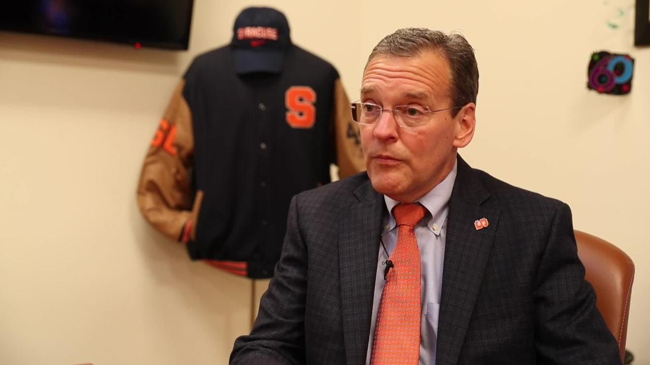 Syracuse University AD John Wildhack talks about his relationship with football coach Dino Babers and basketball coach Jim Boeheim.