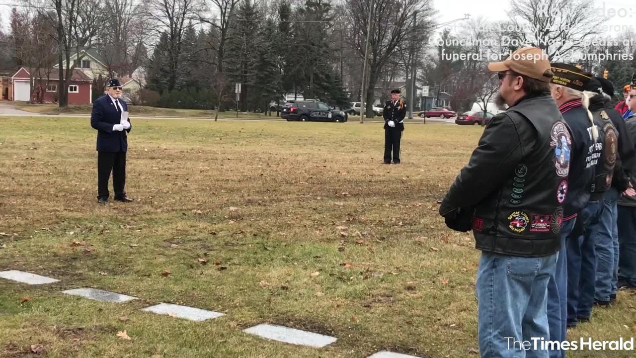 St. Clair County Allied Veterans Councilman Dave Norris delivers a prayer at the funeral for Joseph A. Humphries Friday, Dec. 14, 2018 at Allied Veterans Cemetery in Fort Gratiot.