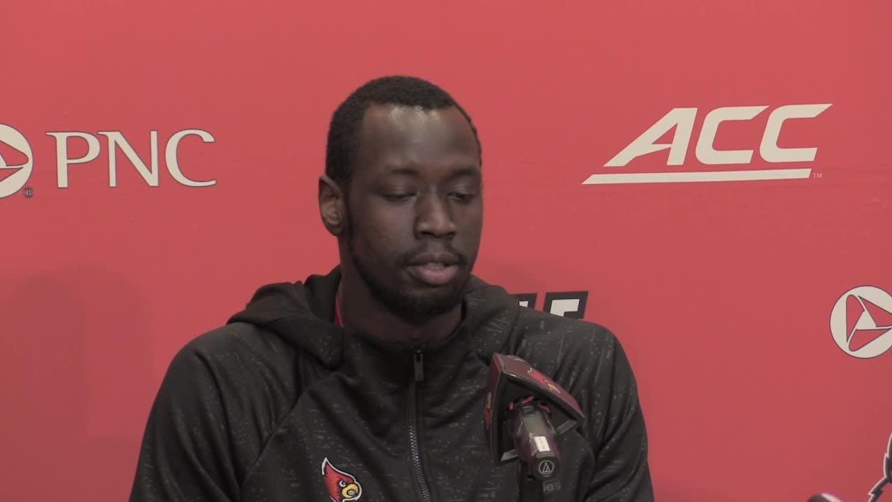 U of L forward Akoy Agau discusses the Lipscomb game and Saturday's home game against Kent State.