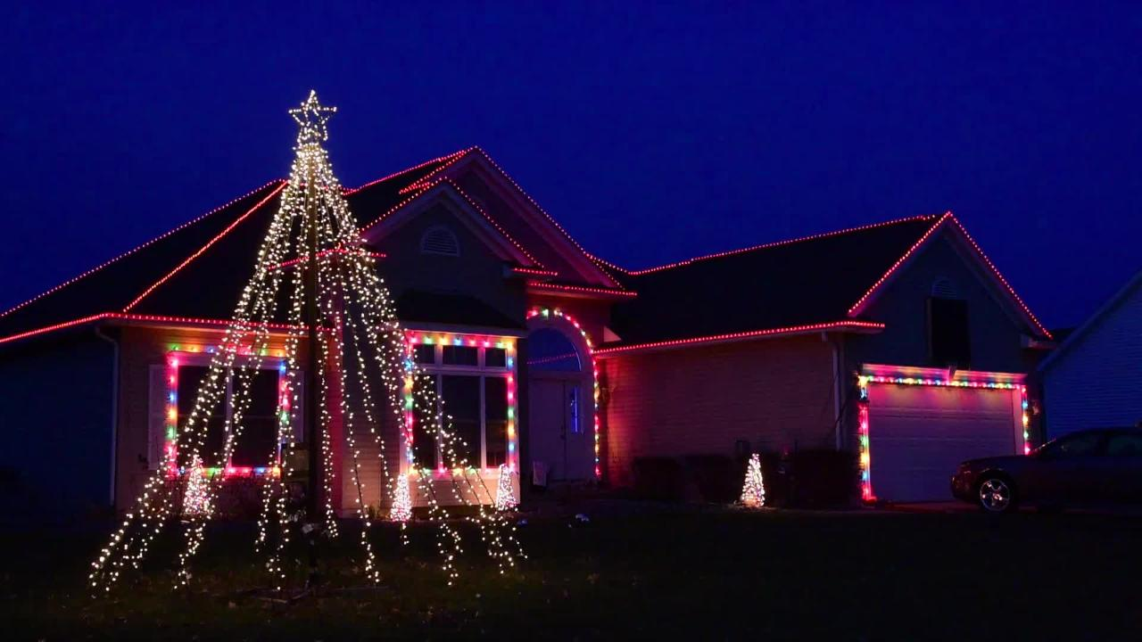 The home of Dave and Megan Riojas at 460 Burdine in Oak Harbor is decorated with an elaborate Christmas light display with lights linked to music.