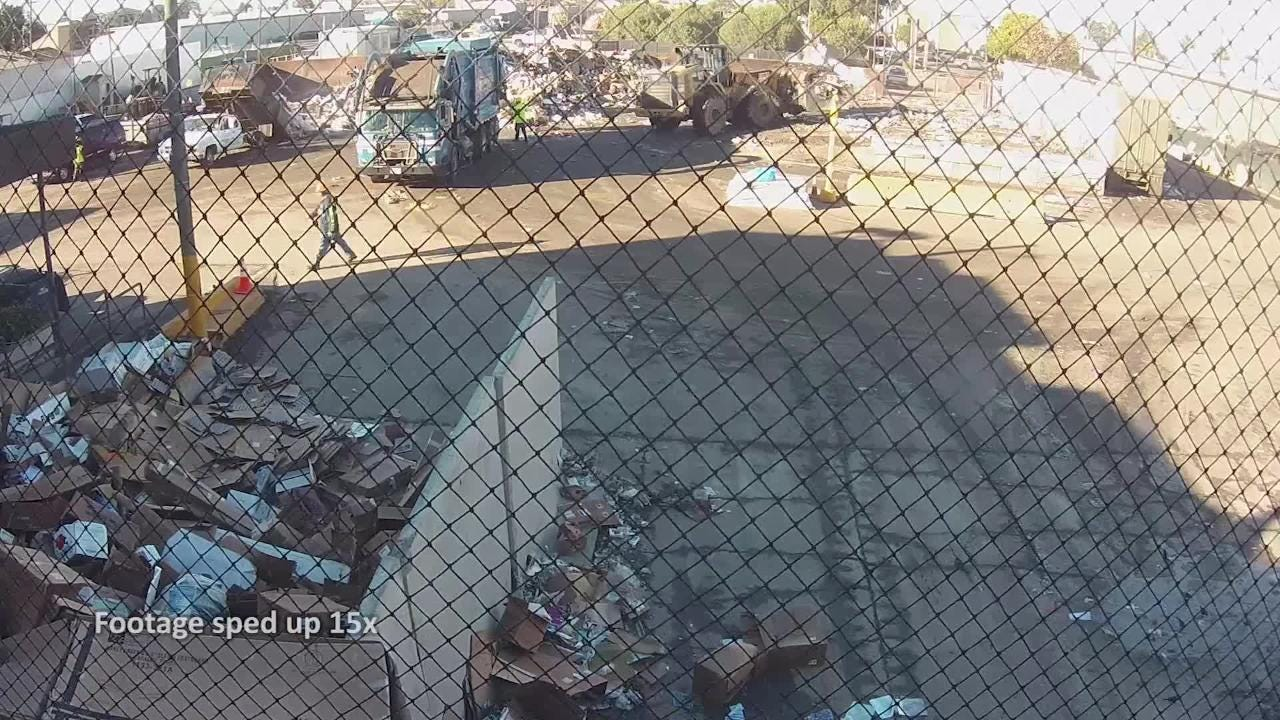 A Sun Street Transfer station shows a homeless man being dumped with trash. The Californian edited the video to speed it up and magnify key points.