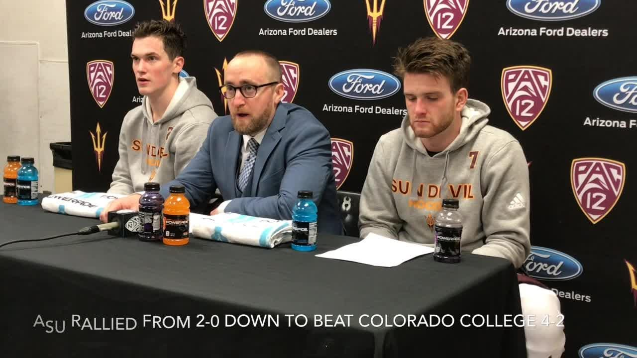 ASU hockey coach Greg Powers and forward Johnny Walker talk about the Sun Devils' 4-2 victory over Colorado College.