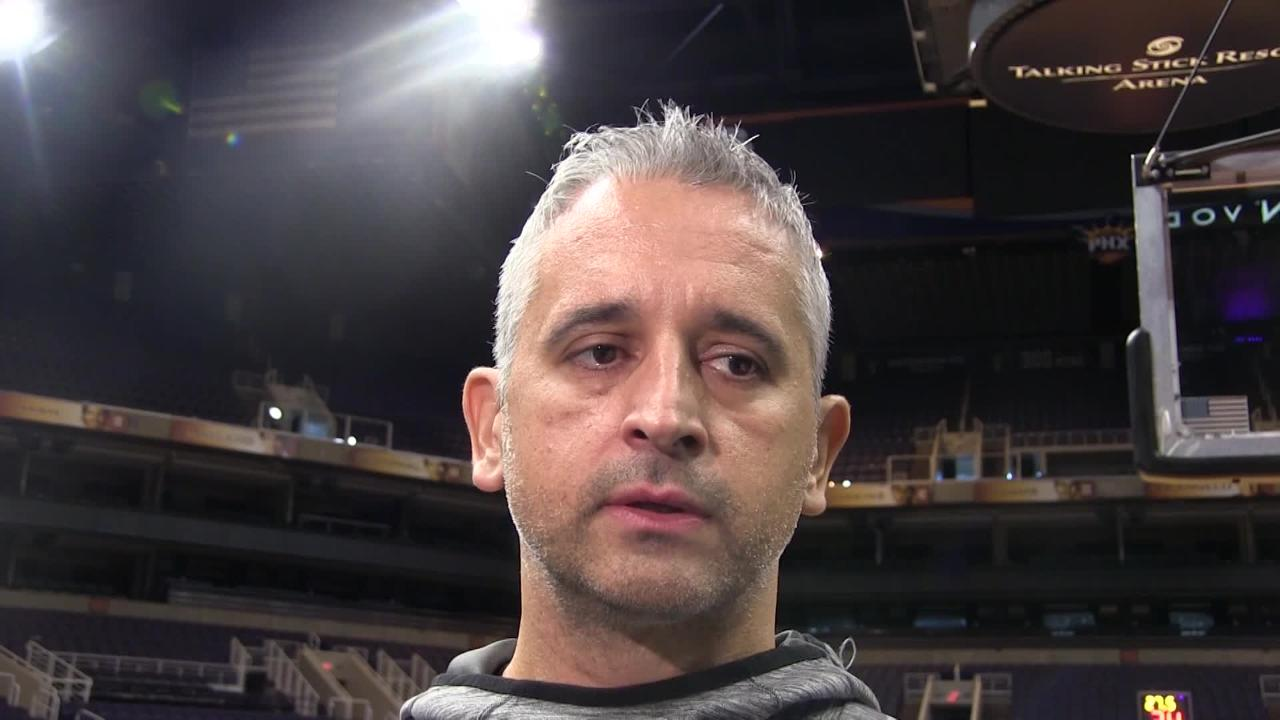 Phoenix Suns coach Igor Kokoskov talks his role in roster moves and Devin Booker's possible return after missing six games with hamstring injury.