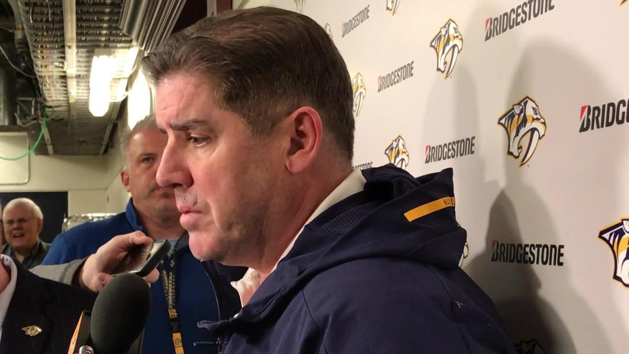 Nashville Predators coach Peter Laviolette discusses Ryan Hartman's improvement and impact on the lineup.
