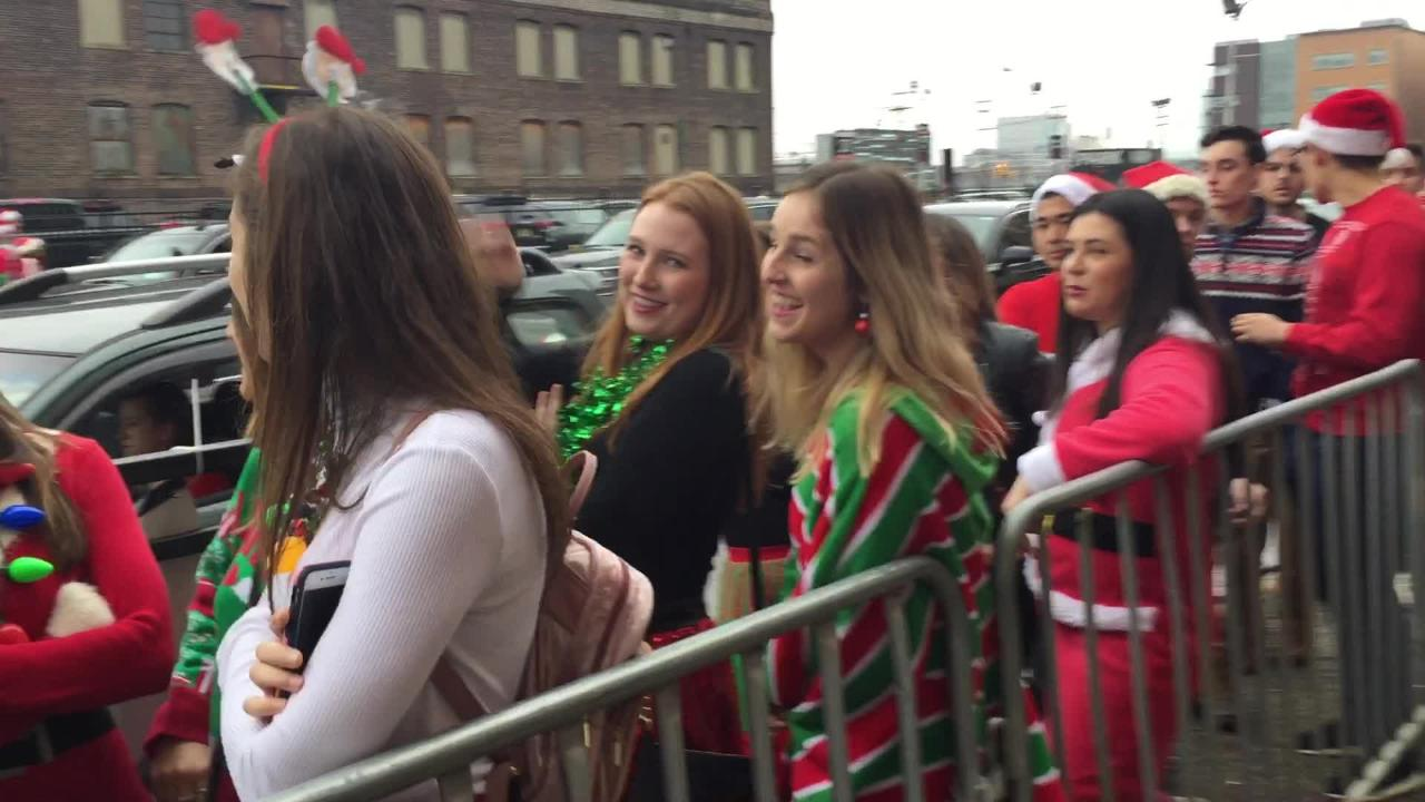The line to get into a bar stretched an entire block during Hoboken SantaCon 2018.