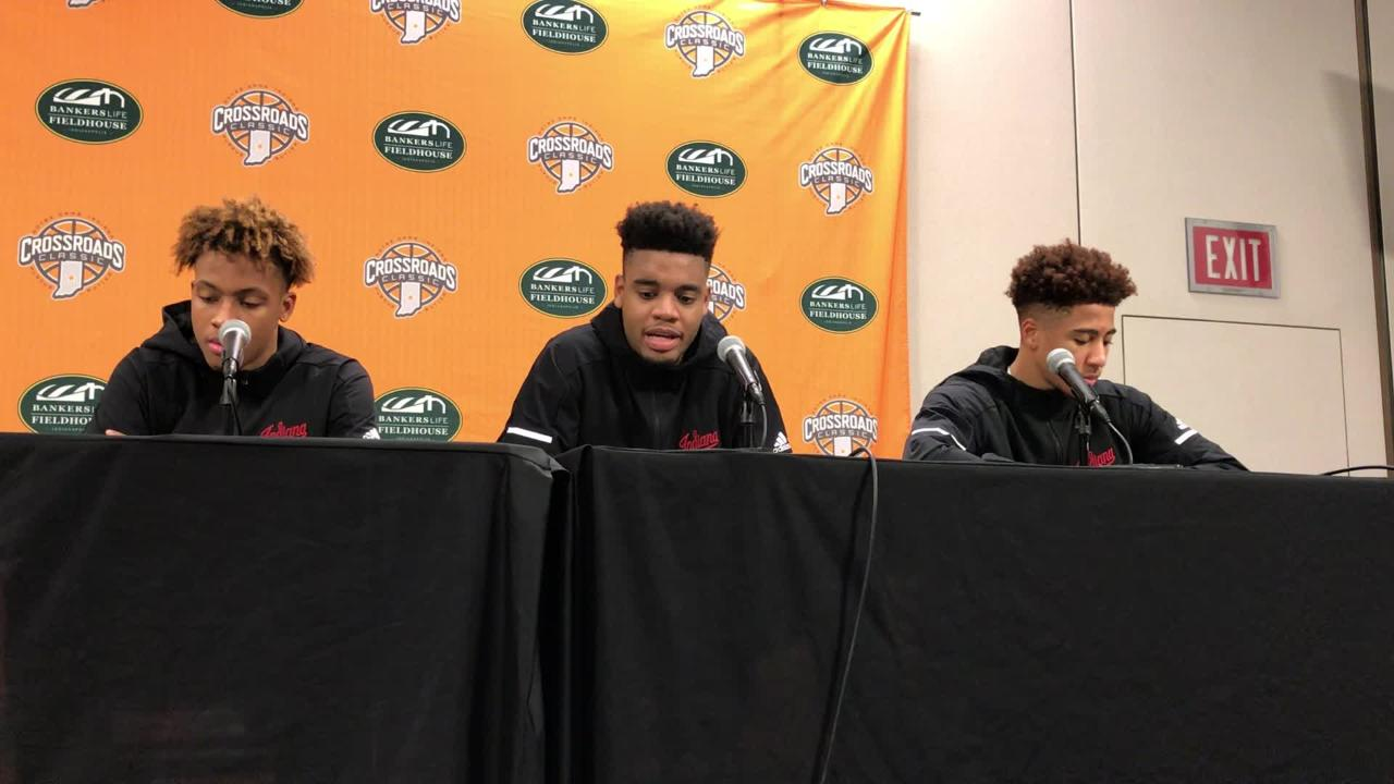 IU players speak with reporters after winning a buzzer-beating thriller against Butler in the Crossroads Classic.