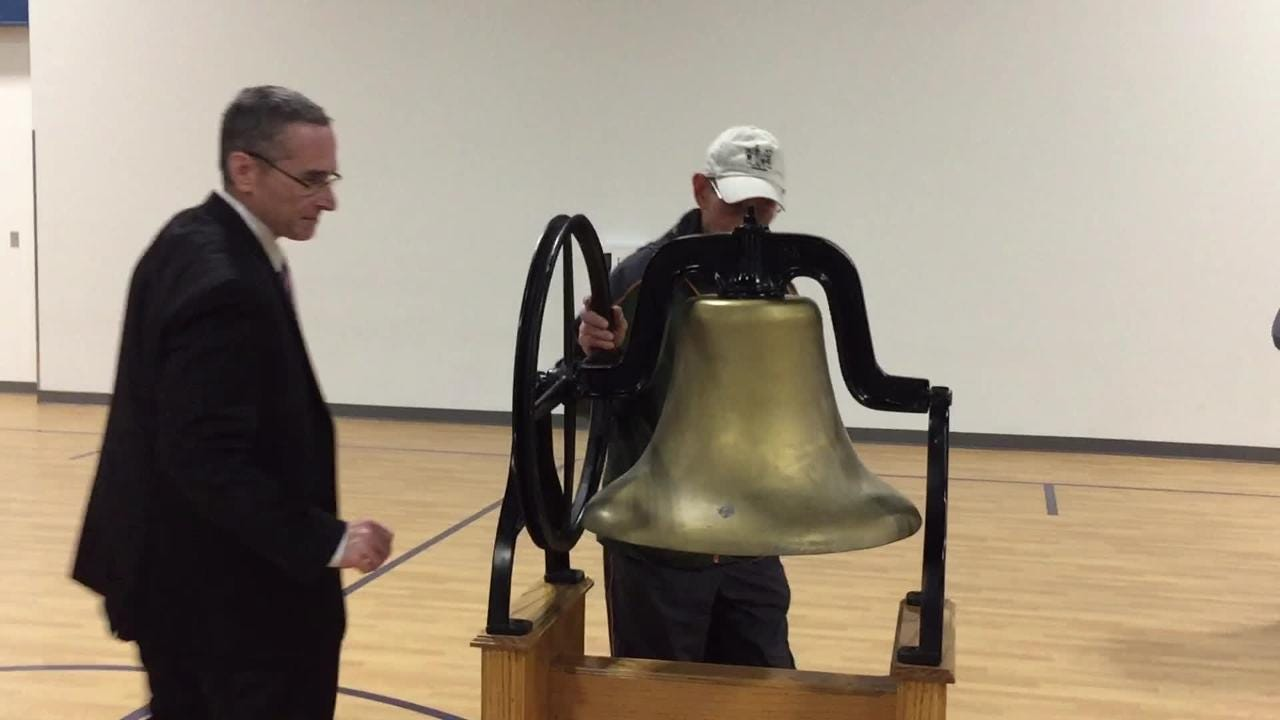 The original school bell, circa 1938, had been placed in a basement where it was later discovered. The bell has been returned to the school district.