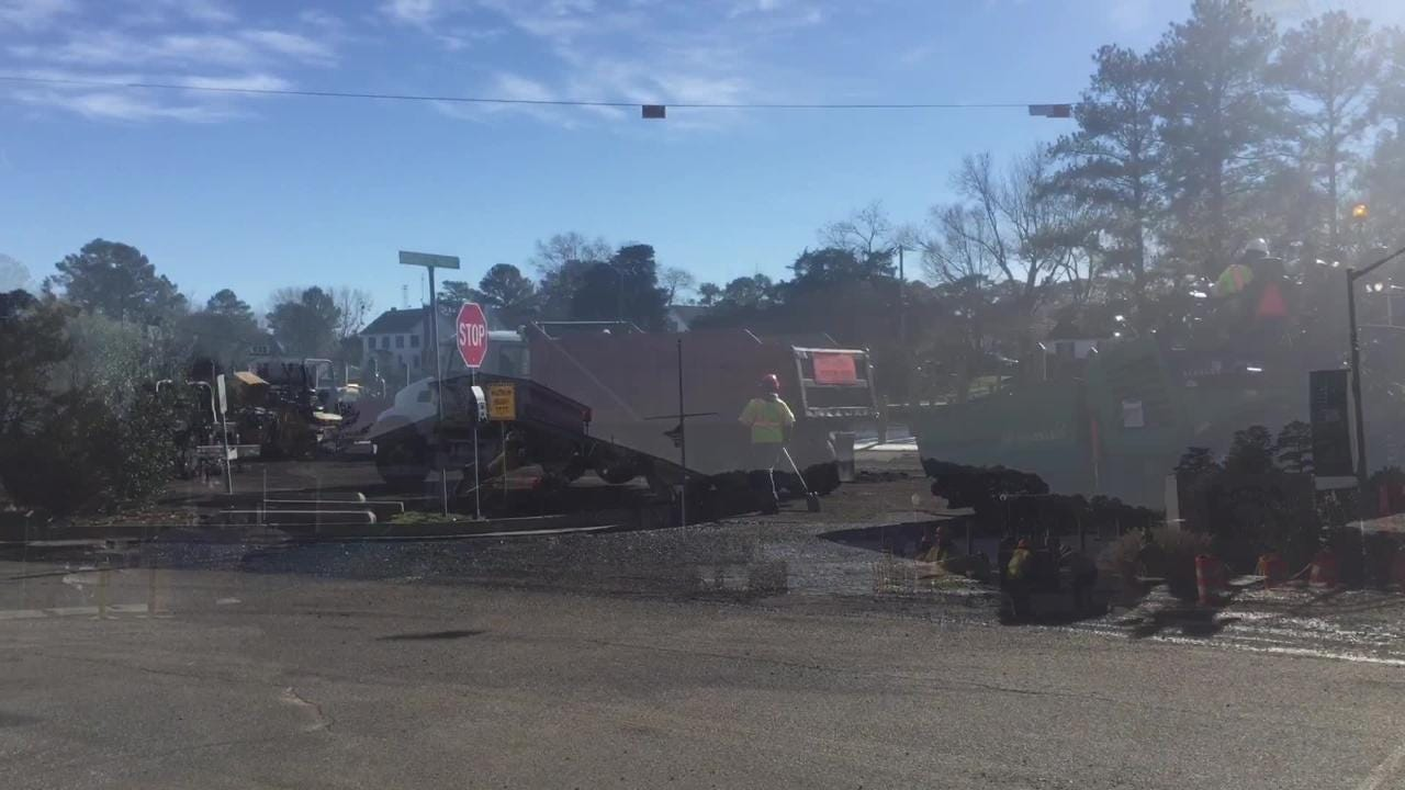 The parking lot at Onanock Wharf was being repaved on Monday, Dec. 17, 2018.