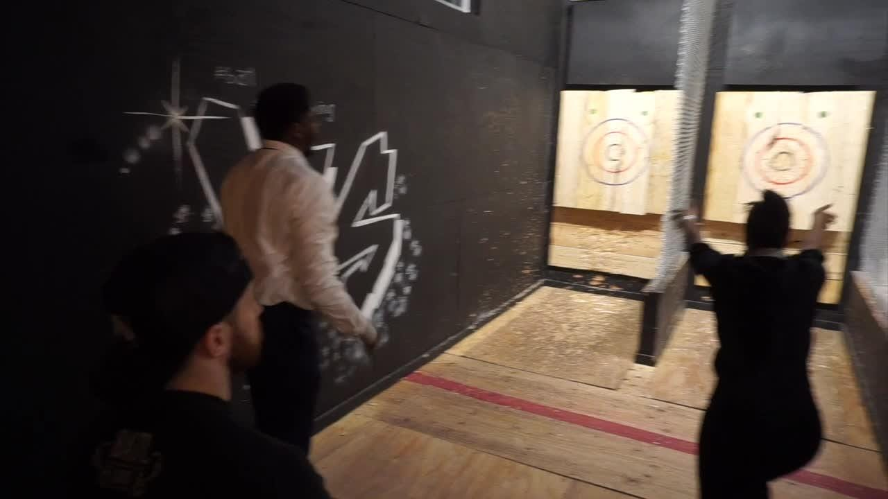 Maybe you tried this in Boy Scouts with  no adults around. The Backyard Axe Throwing League shows you how to do it without mayhem. Great fun.