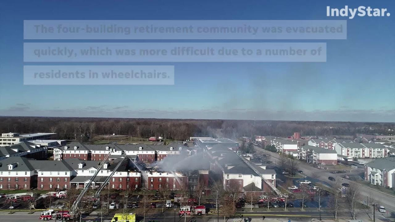 There were no injuries in a three-alarm fire at a retirement community, which took about 75 firefighters from two departments to get under control.