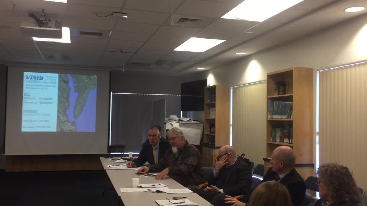 Chincoteague Mayor J. Arthur Leonard spoke during a meeting of Eastern Shore of Virginia community leaders with Congresswoman-elect Elaine Luria.