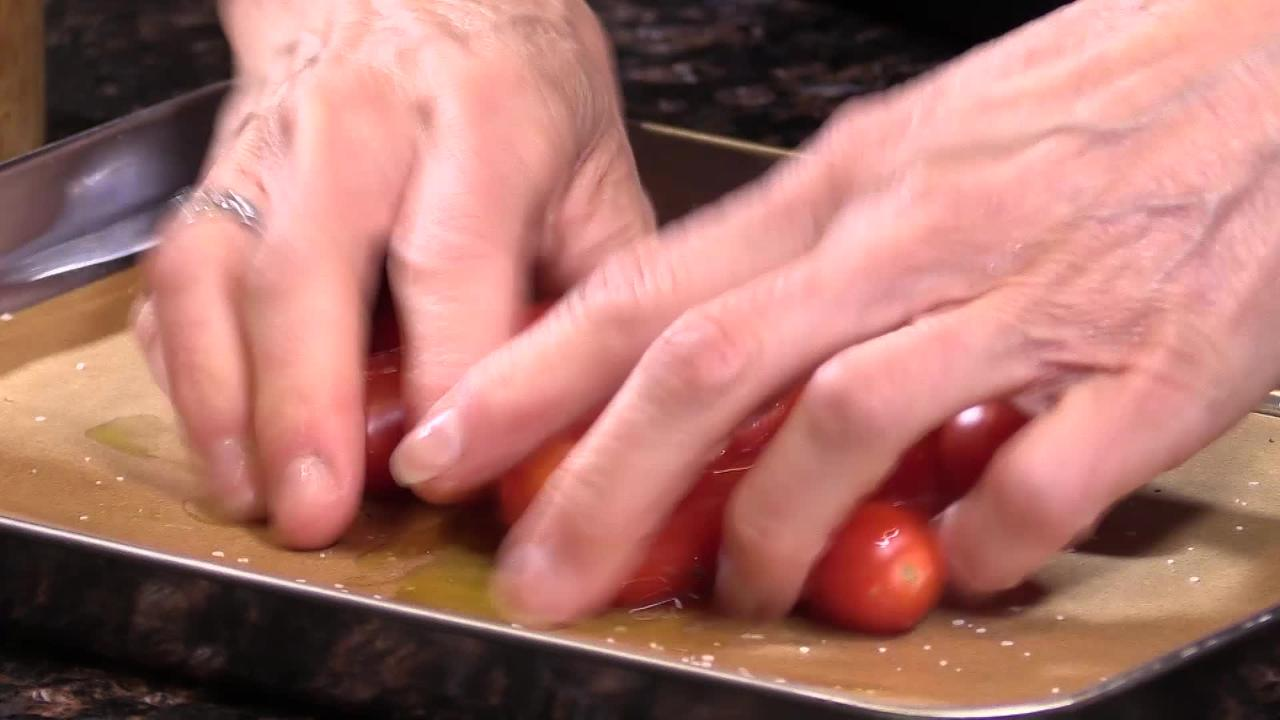 Chef Robin Miller shows how to roast tomatoes for one of four hummus dips, a 2019 food trend.