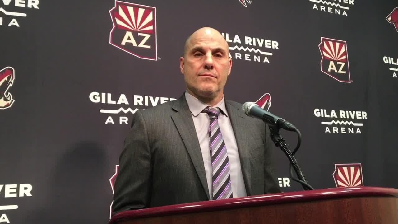 Coyotes head coach Rick Tocchet discusses his team's loss to the Islanders on Tuesday.