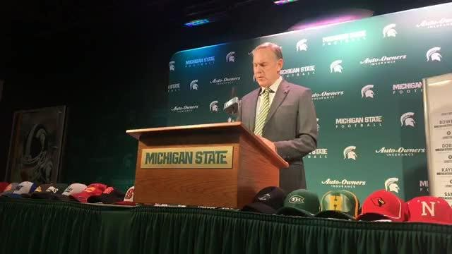 Michigan State coach Mark Dantonio speaks to the media on Wednesday, Dec. 19, 2018, in East Lansing.