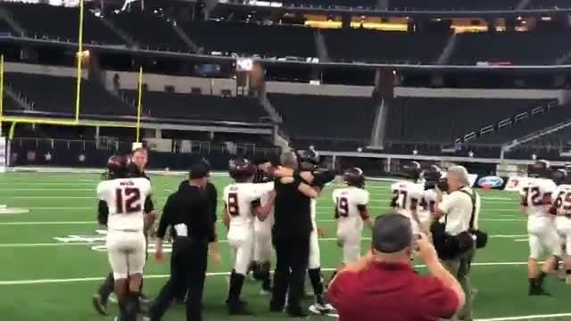 The Strawn football team celebrates winning the 2018 Class 1A Division II state championship after the final seconds ticked off the clock.