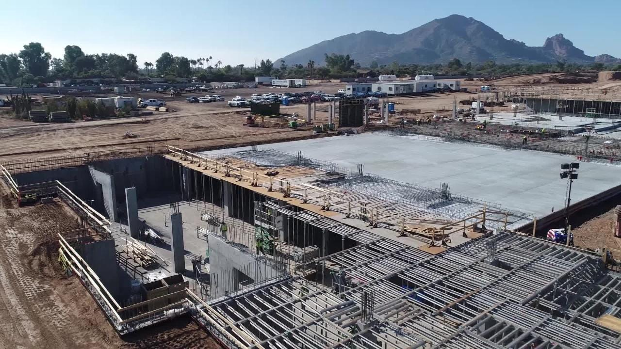The video shows how construction at the Paradise Valley, Arizona, resort is progressing.