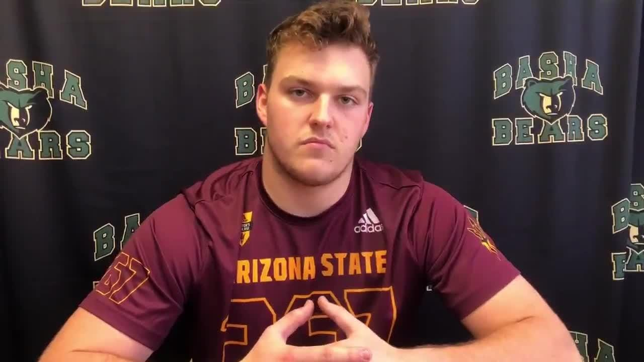 Basha offensive lineman Roman DeWys, the first commitment to ASU's 2019 class, talks about signing his letter of intent.
