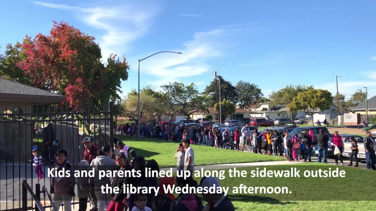 For the 5th year in a row, the Cesar Chavez Library brought in snow to its courtyard for local kids to play in for free.