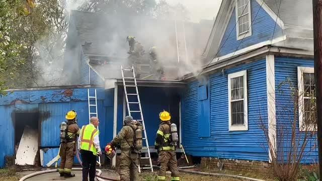 Hattiesburg firefighters worked Thursday morning, Dec. 20, 2018, to put out a house fire that broke out on the corner of Gordon and East 2nd streets.