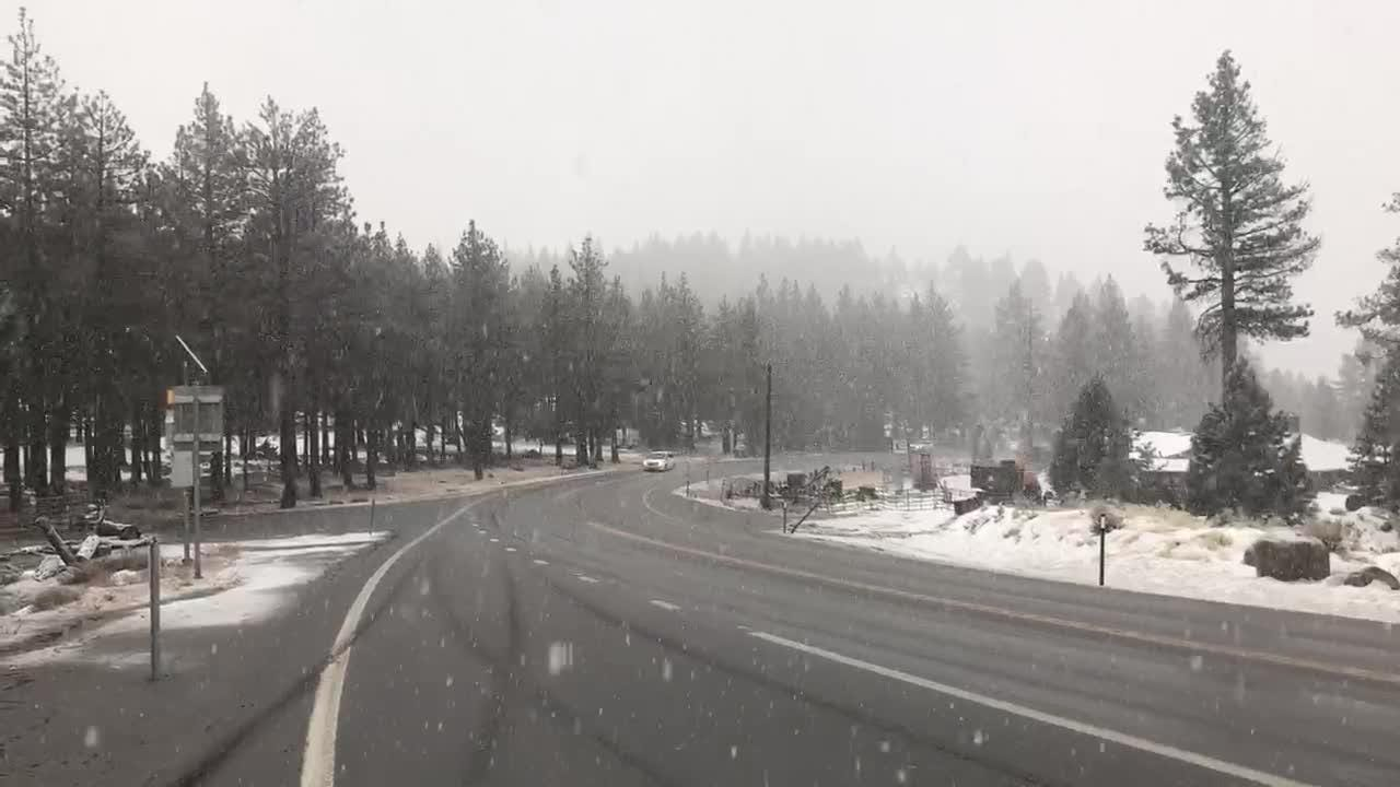Here's what driving conditions looked like on Dec. 24, 2018 as snow blanketed Mt. Rose Highway south of Reno. Police radio announcements indicated multiple spin-outs.