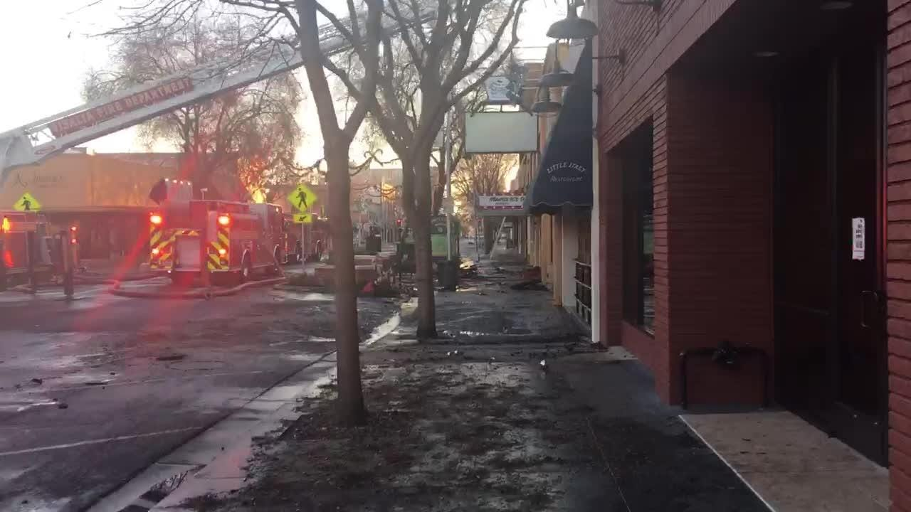 This is a developing story. Check back later for more details. Businesses damaged in the fire include Cafe 225, Acapulco Jewelers and Mama K's Diner.