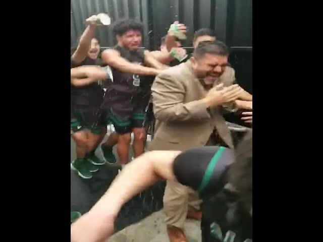 Video from the locker room after the Trojans' 50-33 win over Los Altos, coach Jose Gil's 300th victory at the varsity level.