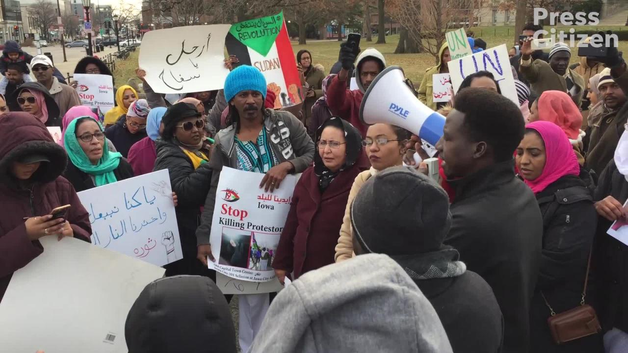 Dozens of Sudanese-Americans gathered on the Pentacrest in downtown Iowa City to protest killings of peaceful protesters in Sudan.