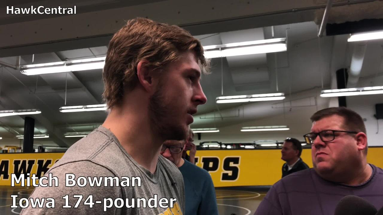 Iowa's Mitch Bowman discusses dropping to 174 pounds and the challenges that came with it.