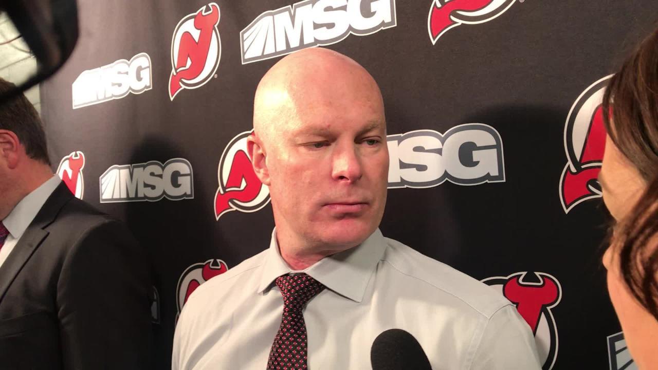 WATCH  NJ Devils  coach John Hynes on Mackenzie Blackwood s 1st NHL win e138cac59
