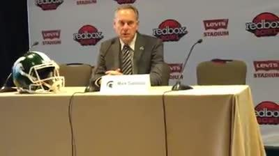 Michigan State coach Mark Dantonio speaks to the media on Friday, Dec. 28, 2018, in San Francisco in preparation of the Redbox Bowl.