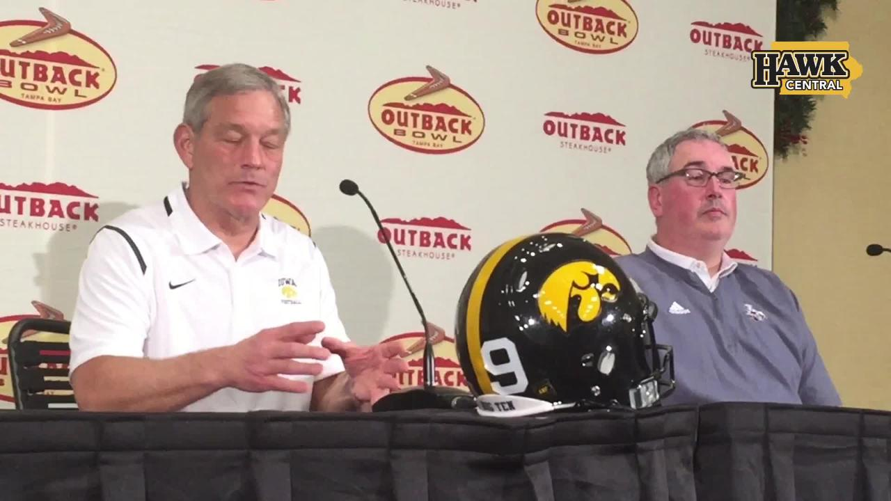 Iowa coach Kirk Ferentz and Mississippi State coach Joe Moorhead discuss their upbringing in the Pittsburgh area in a Dec. 29 press conference.