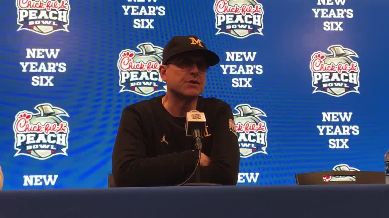 Michigan football coach Jim Harbaugh recaps Peach Bowl after the 41-15 loss to Florida on Saturday, Dec. 29, 2018, in Atlanta.