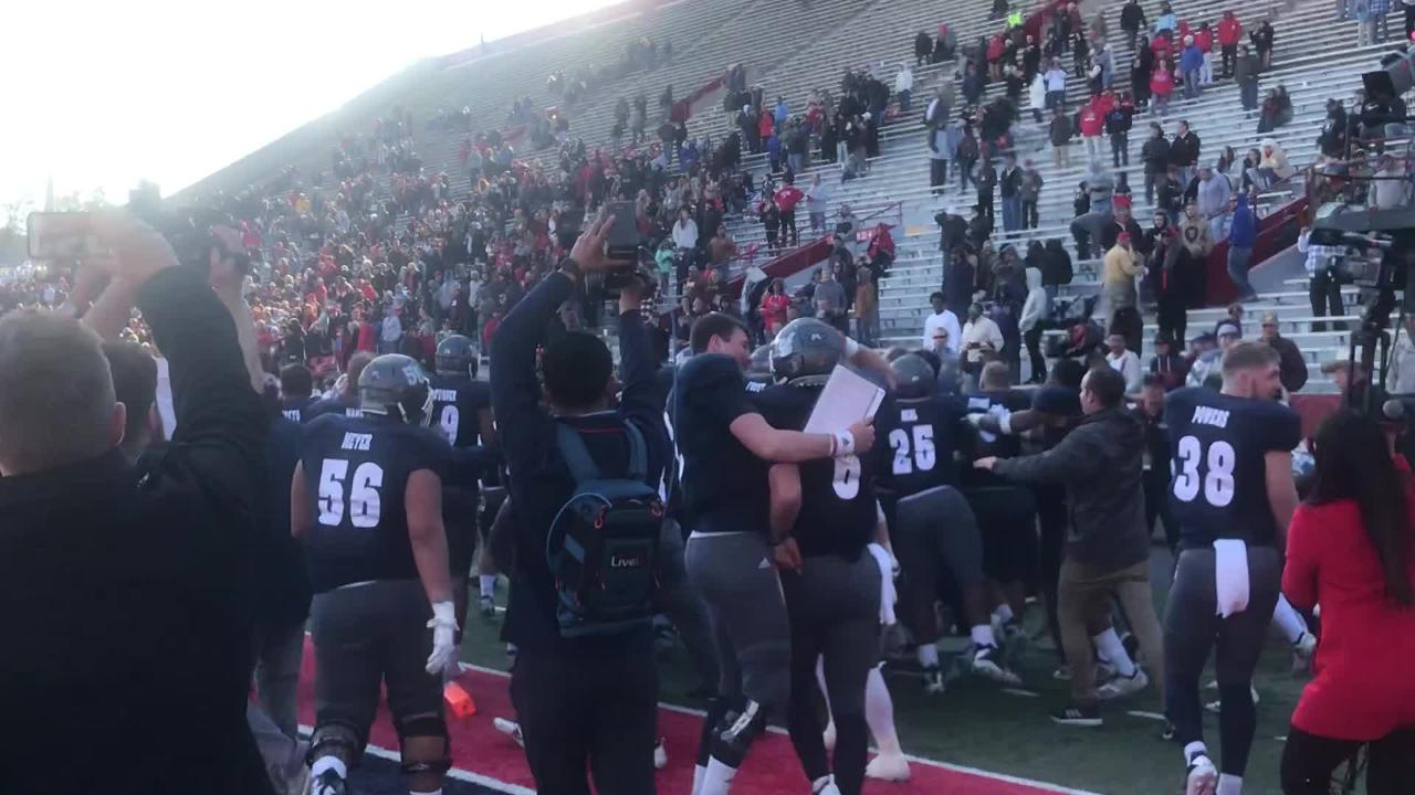 Nevada celebrates after Reagan Roberson reaches the end zone in overtime to end the Arizona Bowl.