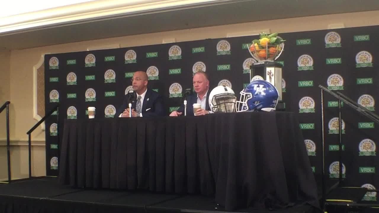 UK coach Mark Stoops and Penn State coach James Franklin talk about the importance of getting their 10th wins of the season.