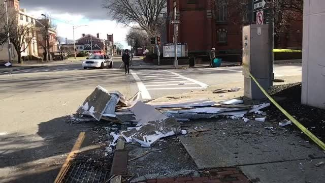 A piece of the Poughkeepsie Grand Hotel facade broke loose and fell to the ground.