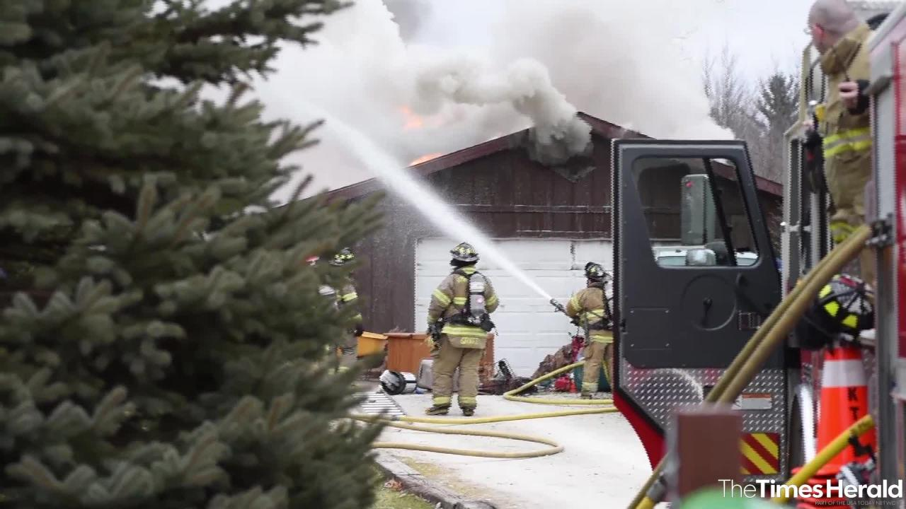 Crews from Kimball Township and Port Huron Township fire departments, as well as Tri-Hospital EMS, are on the scene of a structure fire in Kimball Township Wednesday, Jan. 2, 2019.