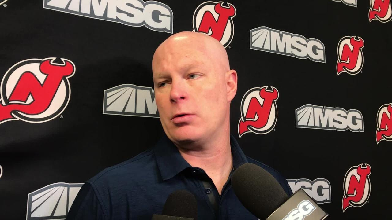 Devils' coach John Hynes explains the decision to use rookie goalie Mackenzie Blackwood for a fourth straight game.