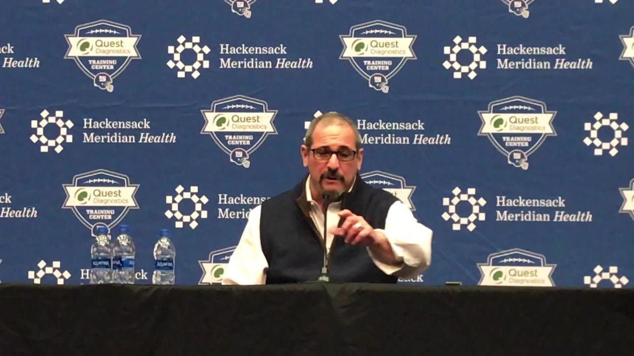 Giants general manager Dave Gettleman addresses the media Wednesday.