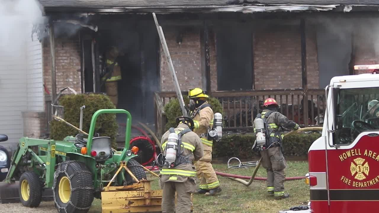 A house fire erupts on Norton Rd. in Marion Township. Homeowners were gone, but pets were not found.