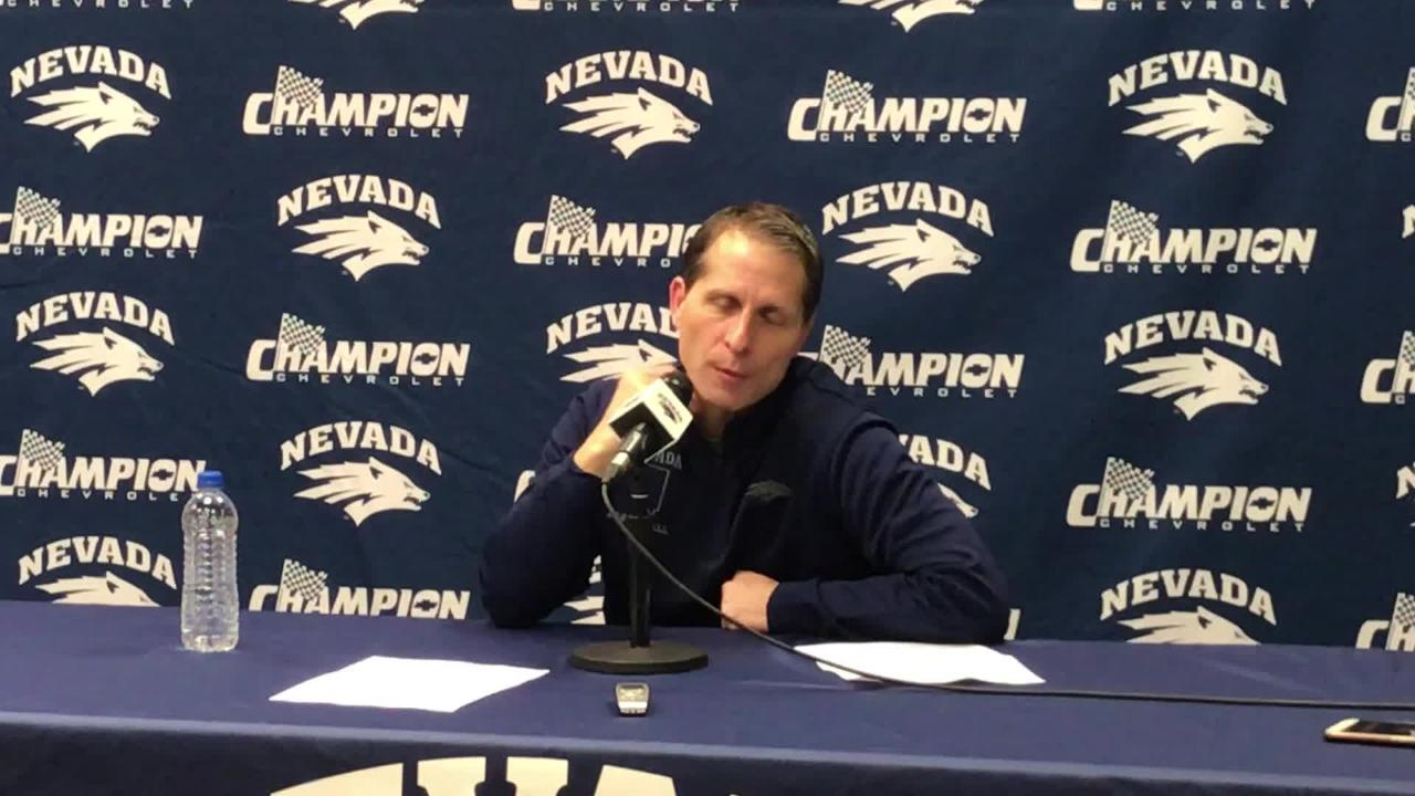 Nevada basketball coach Eric Musselman discusses the Pack's 72-49 dismantling of Utah State.