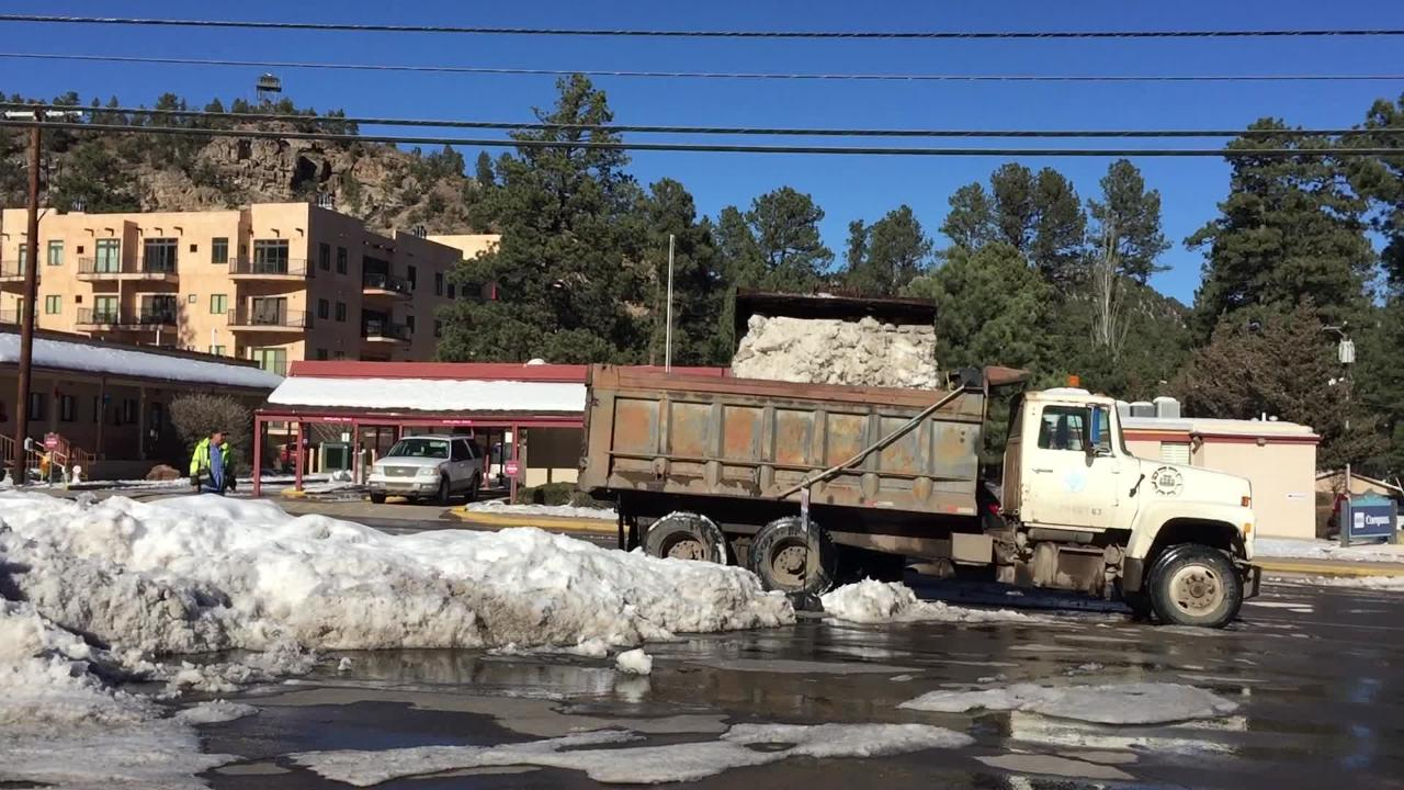 Crews have been working hard for days now removing the snow that has piled up on Sudderth drive.