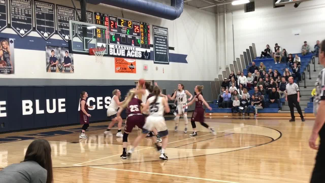 Chloe Mulford's 22 points helped Granville overcome a slow start in a 57-49 victory against Licking Heights.