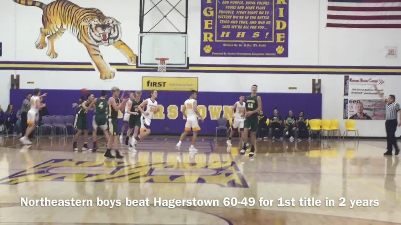 Hagerstown's girls edged Northeastern, and Northeastern's boys beat Hagerstown in the county championships