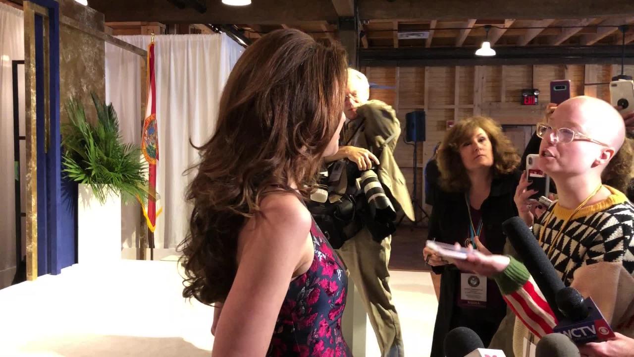 First Lady Casey DeSantis addresses the media