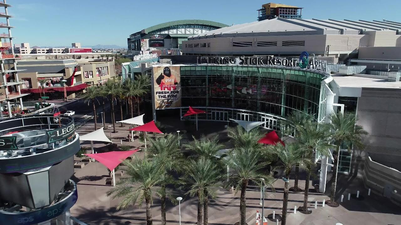 An overhead look at Talking Stick Resort Arena, home of the Phoenix Suns.