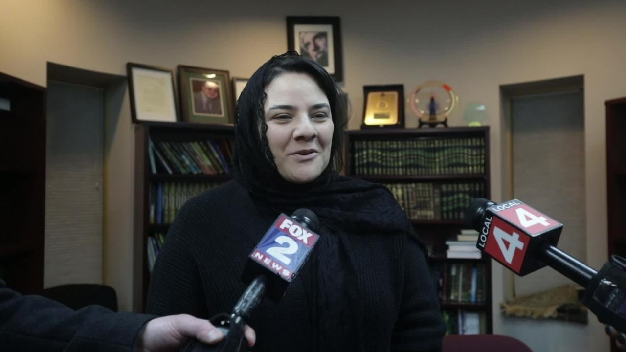 Abbas family spokesperson Rana Elmir speaks to the media at the Islamic Center of America before a service for the Abbas family that died in a car crash.