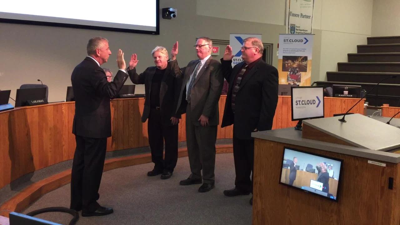 Dave Masters in Ward 1, Steve Laraway in Ward 2 and Mike Conway in Ward 4 take oath of office Jan. 7 at St. Cloud City Hall